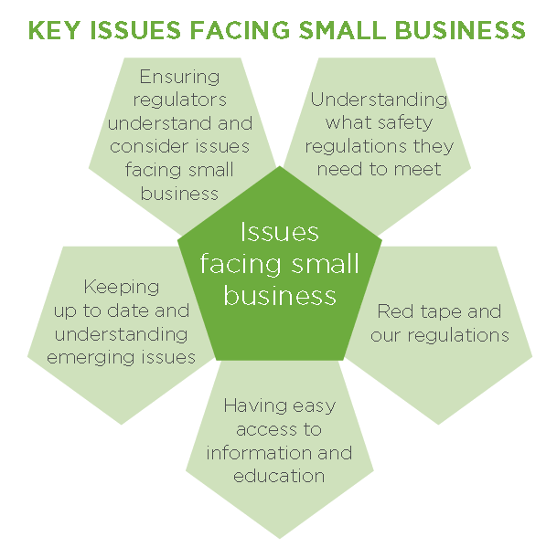 Infographic displaying five key issues facing small businesses