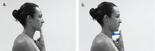 Photographs of a woman completing the neck retraction exercise