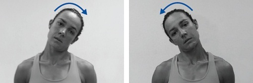 Photographs of a woman tilting her head sideways towards either shoulder
