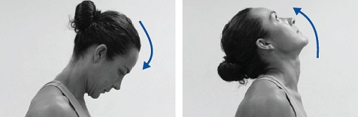 Photographs of a woman bending her head towards her chest, then gently extending it upwards towards the ceiling