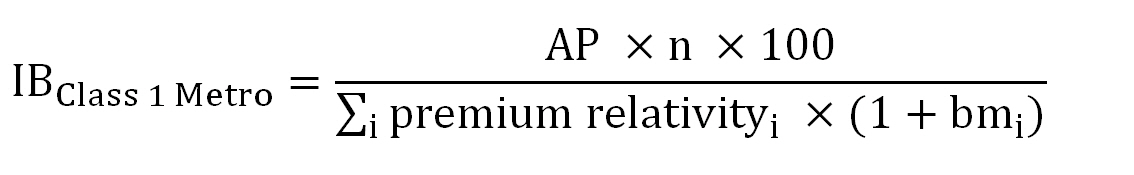 IB Class 1 Metro equals (AP times n times 100) divided by summation subscript i premium relativity subscript i times (1 plus bm subscript i)