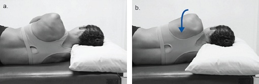 Photographs of a woman lying on her side and rolling her shoulder blade back and across her ribs towards the centre of her back